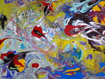 Acrylic colored  abstract painting Stock Photography