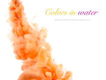 Acrylic colors and ink in water. Abstract background stock image