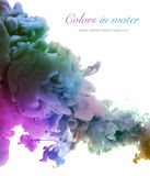 Acrylic colors and ink in water. Abstract background stock images