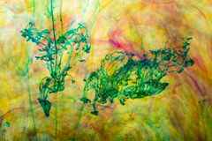 Acrylic colors and ink in water Stock Photo
