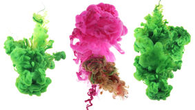 Acrylic colors and ink in water. Stock Photos