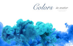 Acrylic colors and ink in water. Abstract frame background. Isol. Ated on white Stock Photo