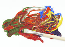 Acrylic colors and paint brush. On a white background Royalty Free Stock Photo