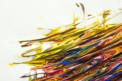 Acrylic colors splash over white Royalty Free Stock Photo