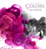 Acrylic colors in water. Abstract background stock image