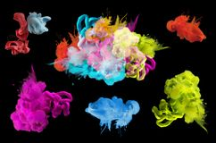 Acrylic colors in water.  Abstract background. Collection. Stock Photos