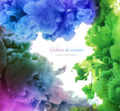 Acrylic colors in water. Abstract background. Stock Photos