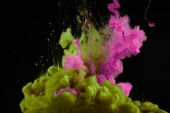 Acrylic colors in water. Ink blot royalty free stock photos