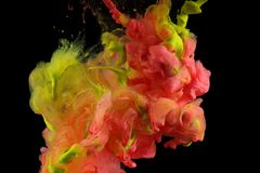 Acrylic colors in water. Ink blot. Abstract background royalty free stock images