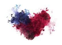 Acrylic colors in water. Ink blot. Abstract background. Isolation. Broken heart concept royalty free illustration