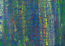 Acrylic craquelure background. With yellow lines and red cracks Royalty Free Stock Images