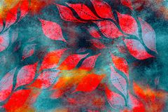 Acrylic Floral art grunge batik background. Stylization of pastel colors, watercolor. Vintage textured pattern with red, orange go. Uache painted autumn leaves Stock Photography