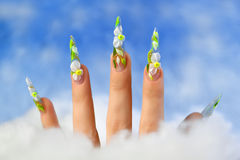 Acrylic flowers on women's nails. Royalty Free Stock Photo