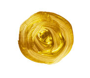 Acrylic gold brush strokes circle. Element for different design Stock Photos