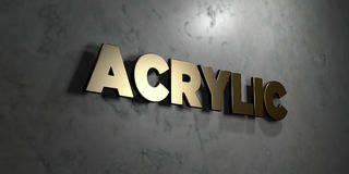 Acrylic - Gold sign mounted on glossy marble wall - 3D rendered royalty free stock illustration. This image can be used for an online website banner ad or a royalty free illustration