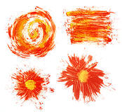 Acrylic hand drawn red abstract splash stains Stock Photo