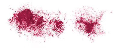 Acrylic hand drawn red abstract splash stains that look like blo Royalty Free Stock Photography