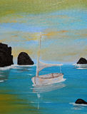 Acrylic Painting Sailboat. Acrylic hand painting of small sailboat  sitting alone in the middle of some rocks in the water.  Artist is the photographer Royalty Free Stock Photos