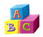 ABC building blocks on white background. Acrylic illustration - ABC building blocks on white background stock illustration