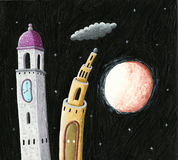 Church bell tower and castle tower in the night. Acrylic illustration of church bell tower and castle tower in the night Royalty Free Stock Images