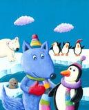 Cute blue fox on the South Pole. Acrylic illustration of the cute blue fox on the South Pole Royalty Free Stock Image