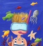 Cute Little Boy Diving in the Ocean. Acrylic illustration of a Cute Little Boy Diving - Ocean, fishes vector illustration