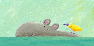 Funny hippo and bird. Acrylic illustration of funny hippo and bird swimming Stock Photos