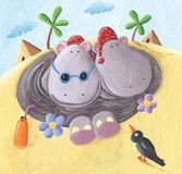 Two funny Hippos on Holidays in Egypt. Acrylic Illustration of Hippos on Holidays in Egypt stock illustration