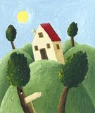 House on a hill. Acrylic illustration of a house on a hill - artistic content Royalty Free Stock Image