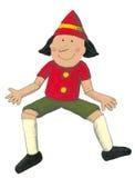 Acrylic illustration of Pinocchio. Sitting vector illustration