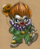 Angry Clown. Acrylic illustration of a spooky halloween clown Stock Photography