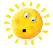 Acrylic illustration of Surprised Sun Royalty Free Stock Photos
