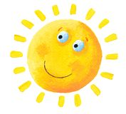 Very happy Sun. Acrylic illustration of very happy Sun Stock Images