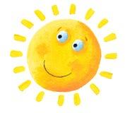 Very happy Sun. Acrylic illustration of very happy Sun royalty free illustration