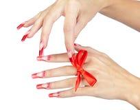 Acrylic nails manicure Royalty Free Stock Photo