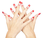 Acrylic nails manicure. Hands with red french acrylic nails manicure and painting isolated white background royalty free stock image