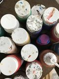 Acrylic paint and brush Royalty Free Stock Photography