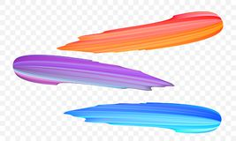 Acrylic paint brush stroke. Vector bright orange, velvet or purple and blue gradient 3d paint brush on transparent background. Acrylic paint brush stroke. Vector vector illustration