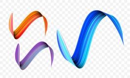 Acrylic paint brush stroke. Vector bright orange, velvet or purple and blue gradient 3d paint brush on transparent background stock illustration