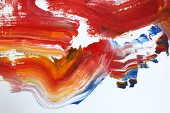 Fiery red brush strokes on canvas. Abstract art background. Color texture. Fragment of artwork. abstract painting on canvas. Acrylic paint, a fragment of royalty free illustration
