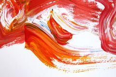 Red bright strokes on canvas. Abstract art background. Color texture. Fragment of artwork. abstract painting on canvas. Acrylic paint, a fragment of abstract art stock illustration