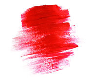 Acrylic paint red brush stroke Royalty Free Stock Photos