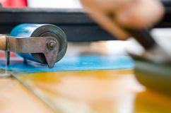 Acrylic paint roller prepared for mono printing and screen printing royalty free stock photo