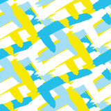 Acrylic paint strokes seamless vector pattern. Blue, white and yellow brush paint smears bold background Stock Photos