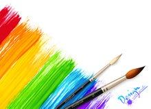 Acrylic painted rainbow background with brushes. Vector illustration Royalty Free Stock Photo