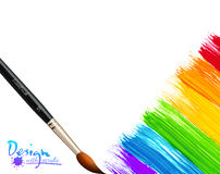 Acrylic painted rainbow background with brushes Stock Image