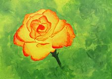 Painting of a beautiful yellowish orange rose Royalty Free Stock Image