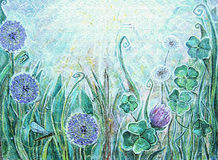Acrylic painting. Blooming meadow plants. Stock Image