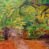 Bridge in forest landscapes by acrylic painting Royalty Free Stock Photos