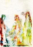 Three ladies acrylics painting. Acrylic painting, modern design concept stock illustration